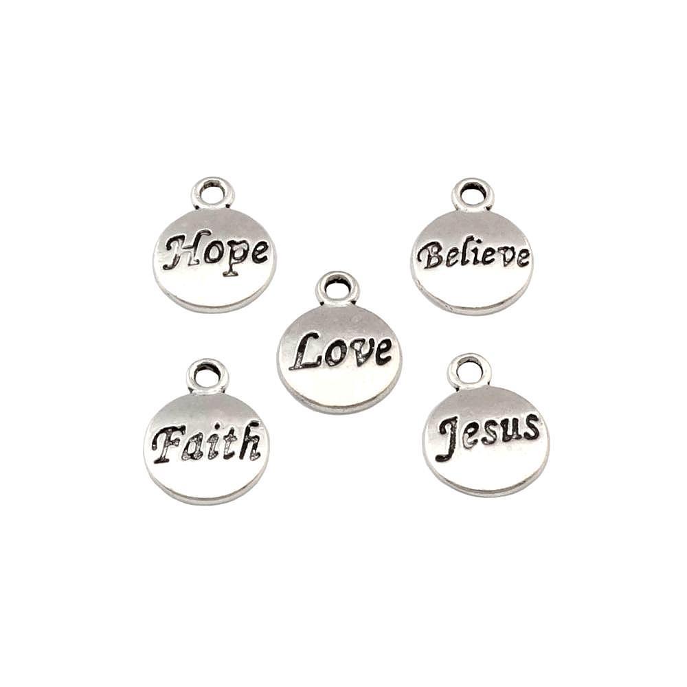 Hopp Tro kärlek tro Jesus Charms Pendants 100st / Lot 11.5x15.5mm Antik Silver Mode Smycken DIY Fit Armband Halsband Örhängen A-23