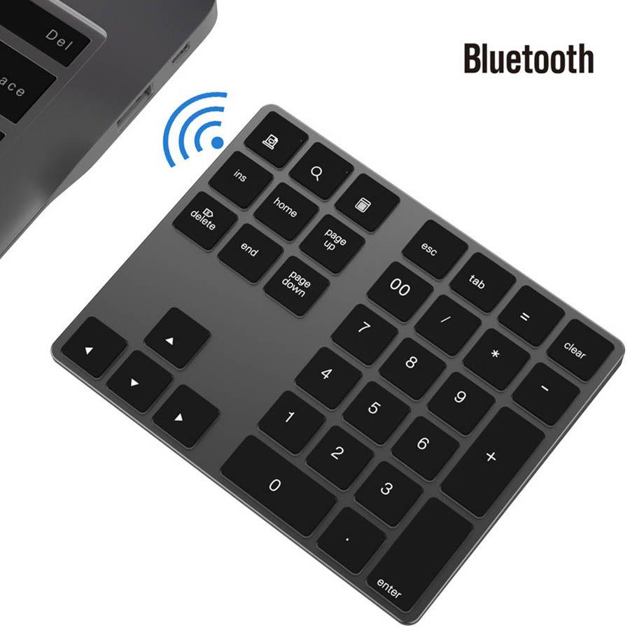 34 keys Bluetooth Wireless Numeric Keypad Mini Aluminum Alloy Shortcuts Numeric Digital Keyboard for Windows IOS Mac Android Tablet Laptop