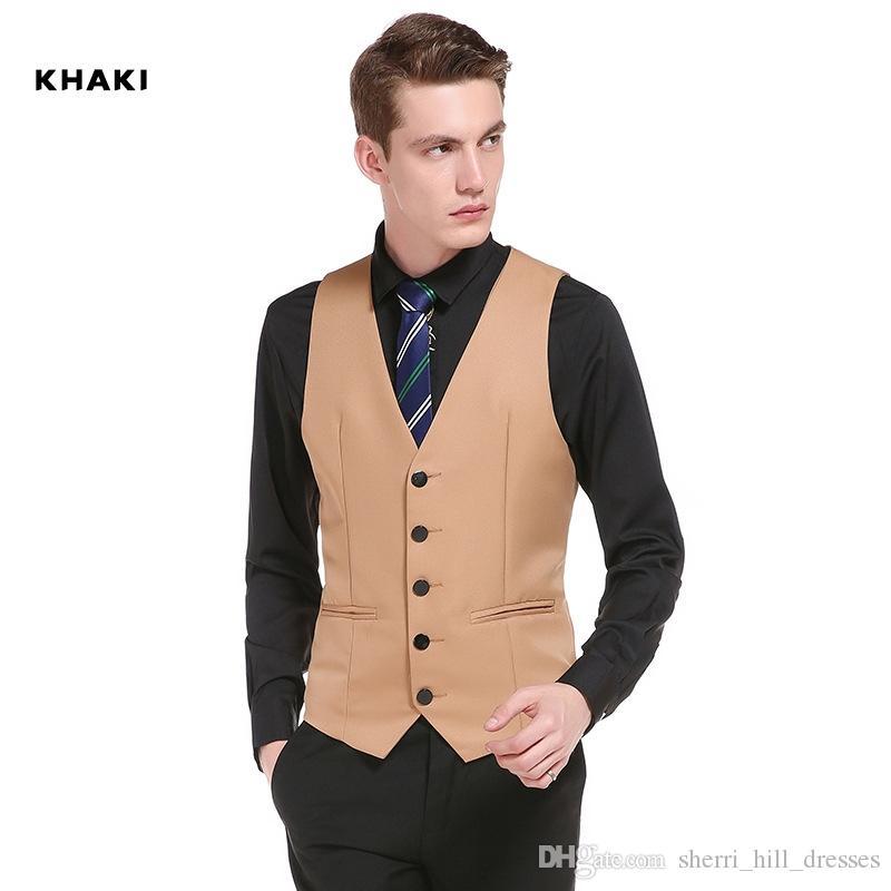 2020 Wedding Dress High-quality Goods Cotton Men's Fashion Design Suit Vest / Grey Black High-end Men's Business Casual Suit Vests