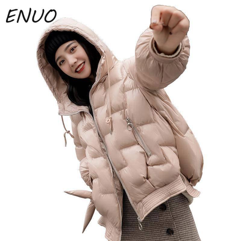 2019 여성 겨울 후드 따뜻한 코트 작은 후추 소프트 코 튼 패딩 자 켓 여성 짧은 파 카 여자 Wadded 분할 디자인