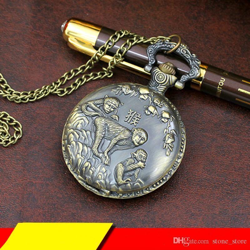 Antique Zodiac Vintage Three-dimensional Carving Animal Quartz Watch Bronze Pocket Watch Hanging Table