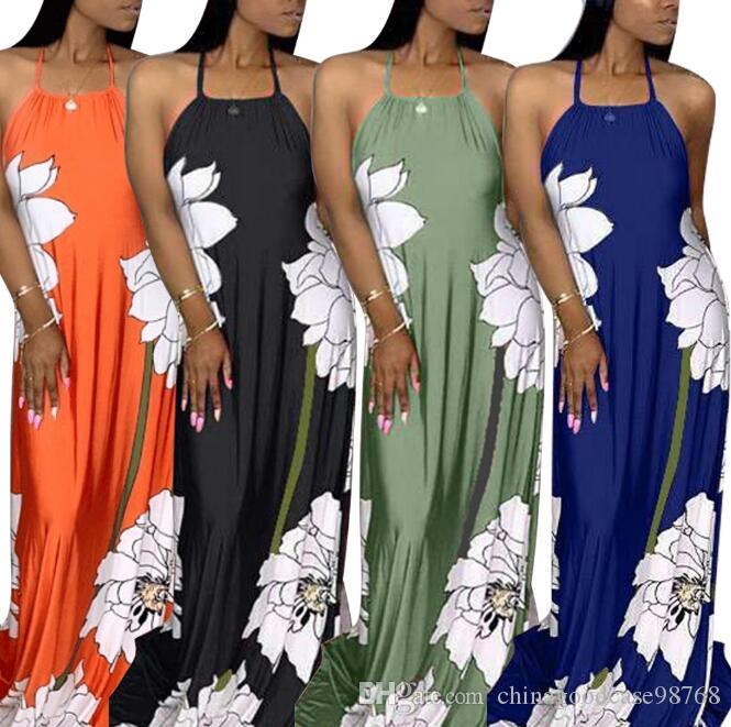 Sommerkleider Sexy Halter Backless Positionierung Gedruckt Maxi Kleid Heißer Verkauf Vintage Rock Frauen Kleidung Plus Size Kleider