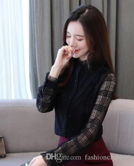 New Arrival Hot Sale Special Fashion Korean Version Long-Sleeved Female Blouse Wild Fairy Bottoming Shirt Solid Color Lady Top Tide Shirt