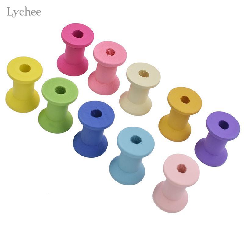 Lychee 10pcs Random Color Wooden Bobbins Spools For Thread Needlework Tool