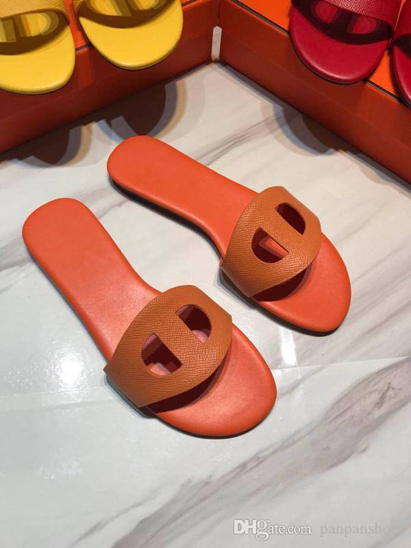 Womens Verão Sandals Praia Deslize Luxo Chinelos Ladies Sandali Firmati Da Donna Shoes Impressão Couro Flores hy19072805