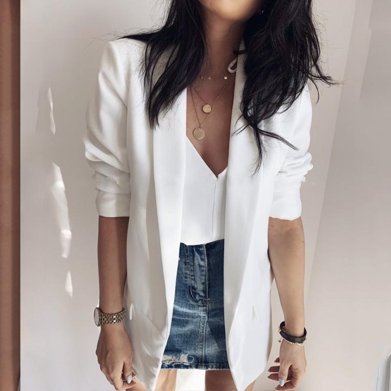 2019 Mulheres Moda Casual Suit Brasão Negócios Blazer manga comprida Jacket Brasão Outwear Ladies Branco Office Lady Magro Blazer
