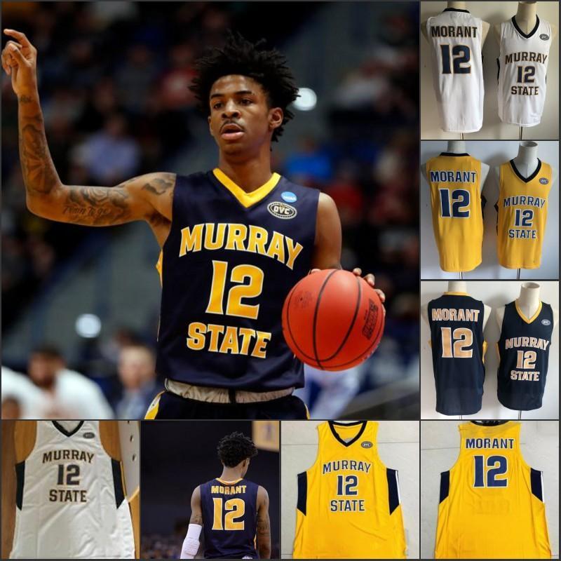 Murray State Racers 12 Ja Morant Jersey Temetrius Jamel OVC Ohio Valley NCAA College Basketball veste Università Shirt S-XXXL