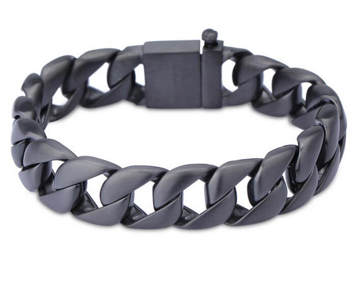 Mens en acier inoxydable Bracelets 15mm de large Rafraîchissez Biker Curb Chain Homme Bijoux Punk Noir Titane Acier Bracelet Bracelet pour hommes