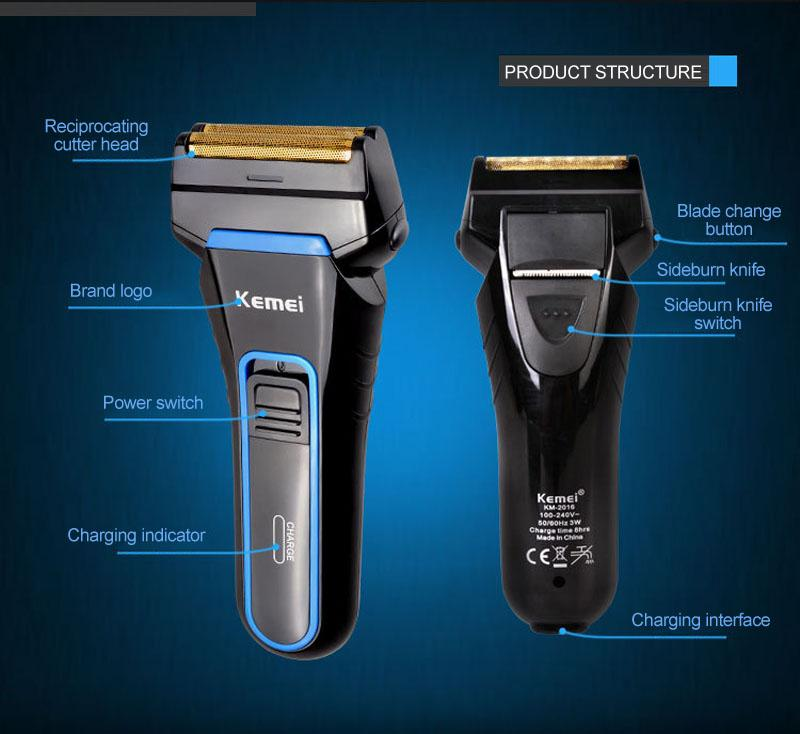 3D Electric Foil Shaver with portable hair clippers Rechargeable and Cordless Double Heads Razor km-2016 Black vsyNu