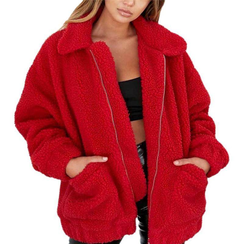 Elegante Abrigo de Piel Sintética 2018 Otoño Invierno Cálido Suave Cremallera Chaqueta Mullida Mujeres Sólido Casual de manga larga prendas de abrigo Streetwear 3XL