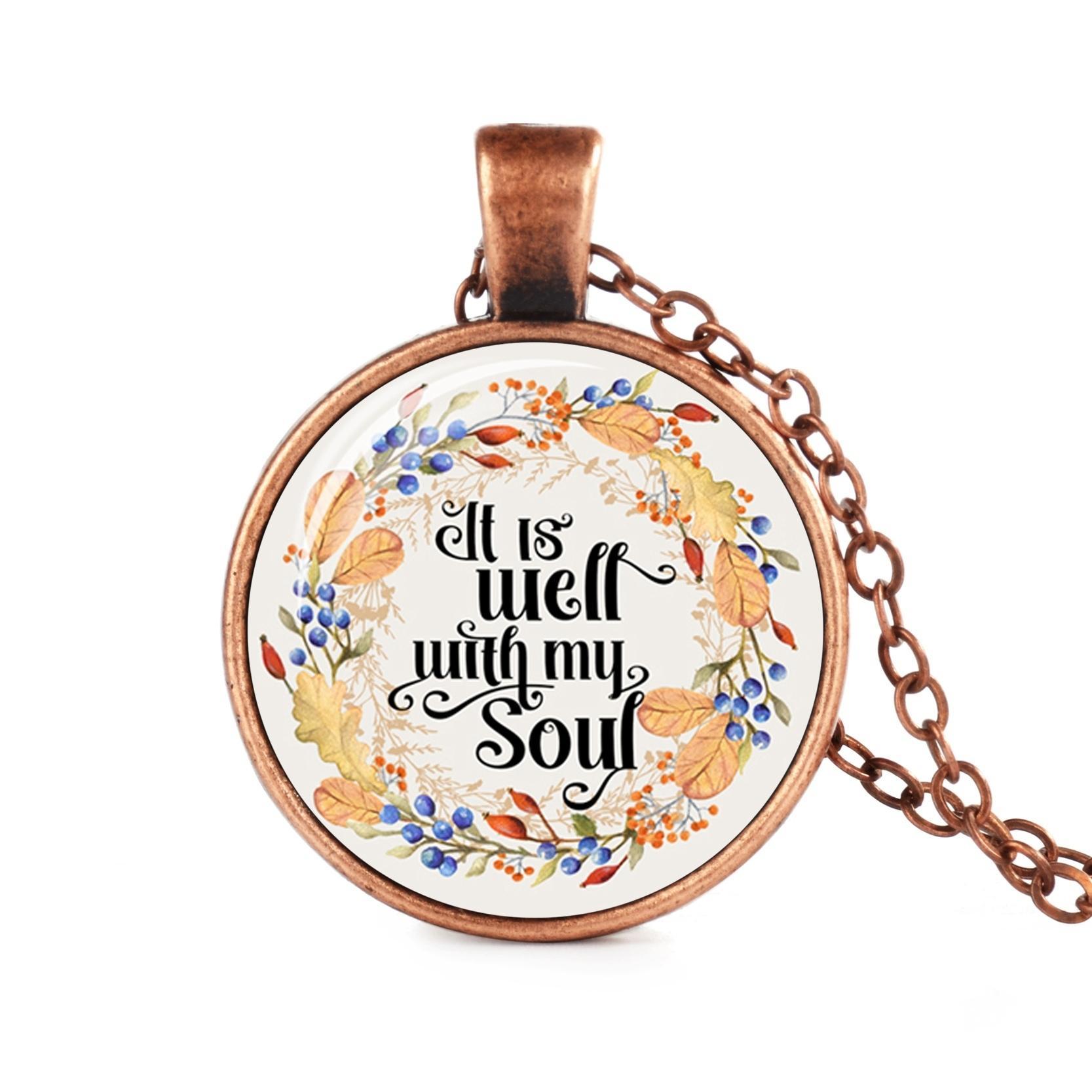Collana con versetto della bibbia La mia pace, ti do la cupola Collana di vetro Citazione Christian Fashion Faith Hope Gioielli Regali per le donne