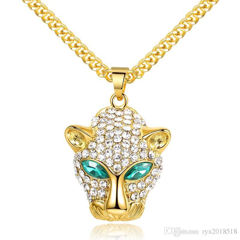 Collane del pendente della testa del leopardo Eyed Green Hip Hop Collane di strass placcati oro di alta qualità per gli uomini Gioielli di moda