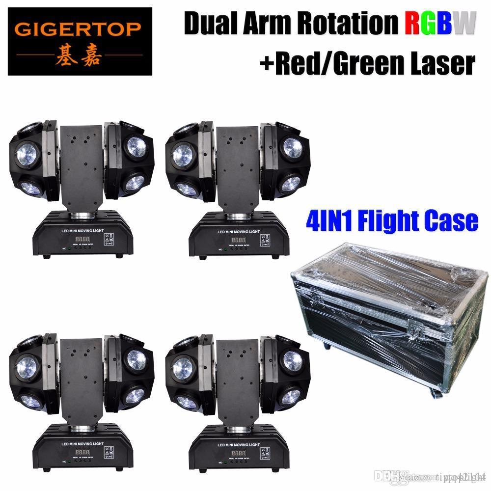 Caso 4EN1 apilable Diseño Mini bolas dobles móvil LED de luz láser Jefe RGBW 4 Color de la viga estupenda / Rojo + Verde Láser Estrella Shinning