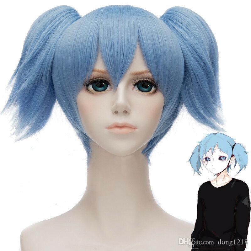 Jeu Sally Face Sallyface Cosplay Perruque 2 Clip Court Ponytails Cheveux Bleu Clair