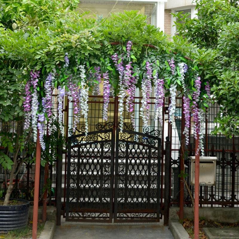 12 Pièces de mariage branche fleur artificielle fleur décoration fleur glycines extérieur porte décoration arc feuille jardin vigne T200509