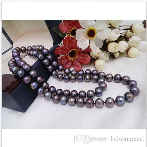 """22 """"9-10mm natürliche Tahitian schwarze Perlenkette 14k Verschluss Weihnachtsgeschenk"""