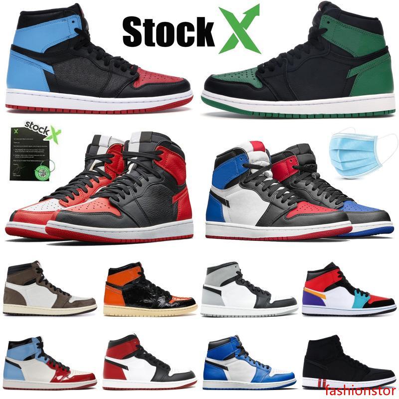 Yeni 1s 1 Jumpman Yüksek Çam Yeşil Siyah Erkek Basketbol Ayakkabı Yakınlaştırma Beyaz NC Obsidian UNC Patent altın üst 3 Tasarımcı Erkek Sneakers