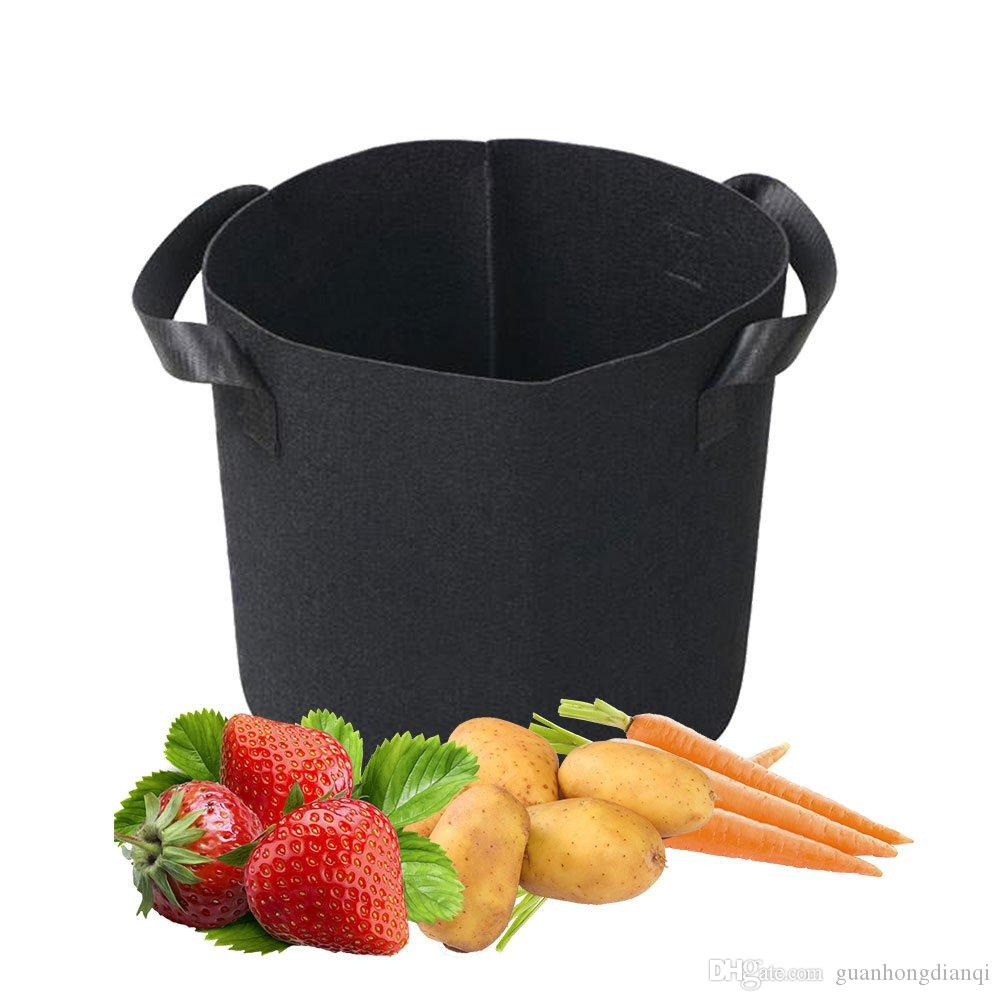 1 Gallon Grow Bags Fabric Aeration Pots Container with Strap Handles for Nursery Garden and Planting Grow (Black)