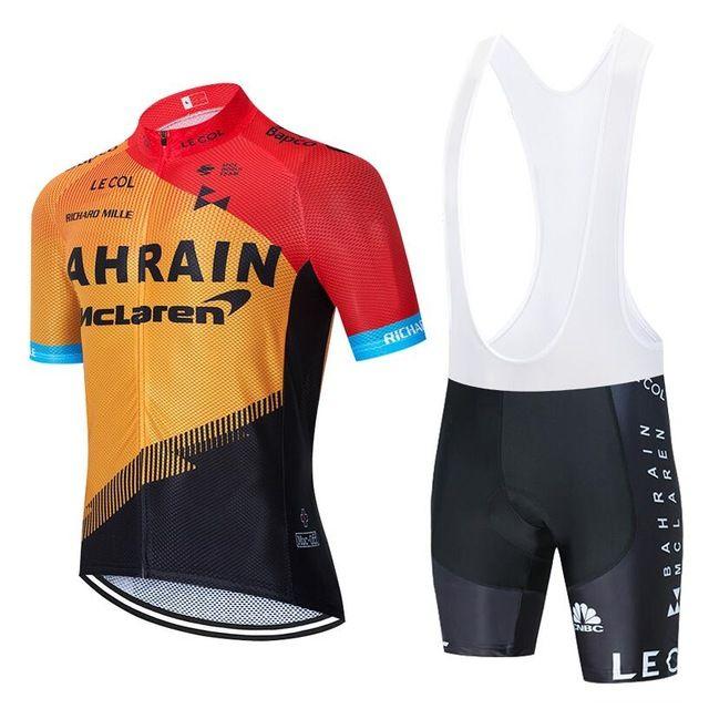 2021 Equipo de manga corta Ciclismo Jersey 19D Pad Pantalones Pantalones Traje de verano MTB Pro Bicycling Shirts Maillot Culotte Wear