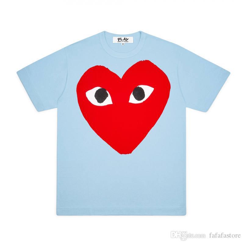 2020 a melhor qualidade Comme des Garçons JOGAR CDG Emoji coração camiseta de manga curta T-shirt curto Tee Des Garçons T-shirt C017 Blue Sky