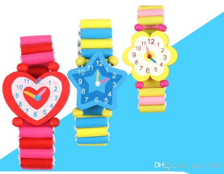 Kreative Cartoonkinderholzgummiband Uhr Umweltschutz Kinder hölzernes kleines Spielzeug Großhandel kreativer chi