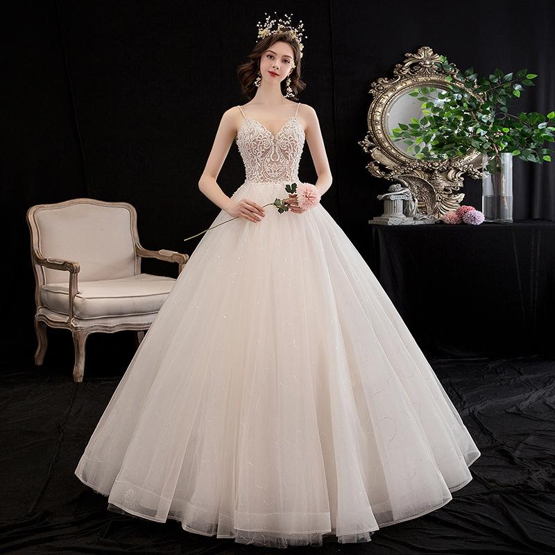 2020 신부 섹시한 스파게티 스트랩 레이스 볼 가운 진주 웨딩 드레스 신부 레이스 업 드레스 BLN003