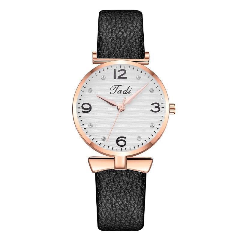 Casual delicado cuero de mujeres de los relojes de manera femenino de cuarzo reloj de pulsera del Rhinestone exquisito del reloj de señoras Zegarek Damski