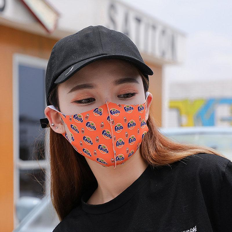 3D الأزياء كولا مصمم الحرير الثلج قناع الوجه تنفس الفم غطاء مكافحة الغبار التلوث أقنعة حمايه زهرة نسيج الرياضة في الهواء الطلق الحزب قناع