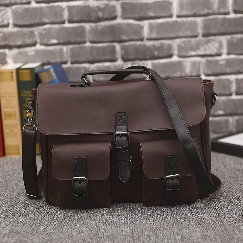 Designer-ATAXZOME yeni erkek iş evrak çantası kaliteli PU deri çanta moda tasarım kahverengi hediye için 14-inch erkek çantası YZ6398