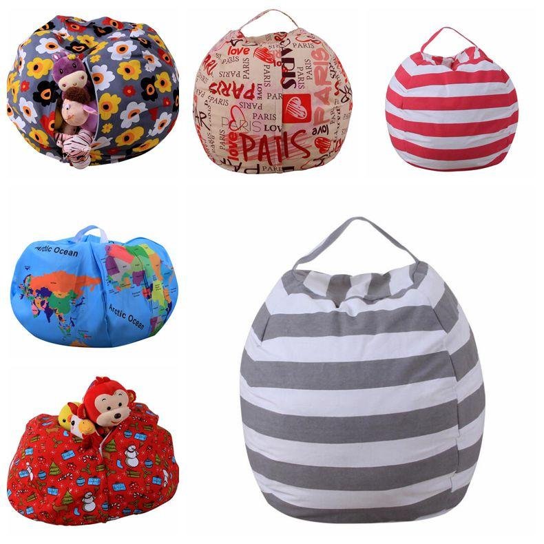 Kids Storage Bean Bags Plush Toys Beanbag Chair Bedroom Stuffed Animal Room Mats Portable Clothes Storage Bag 10pcs