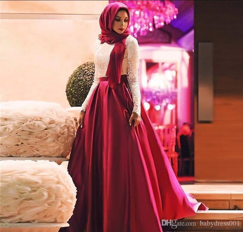 2017 Mode Blanc Rouge Rouge Musulman Robes De Bal Manches Longues Hijab Robes De Soirée En Dentelle Satin Etage Longueur Plus La Taille Saoudien Arabe Robes De Fête
