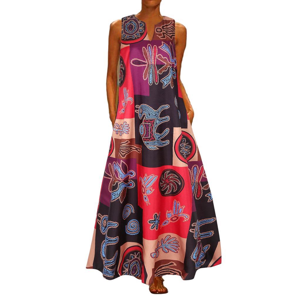 Novos Retro Mulheres V vestidos sem mangas pescoço por Summer Party Ladies Color Bloco de Impressão costura de algodão Mistura Vestido