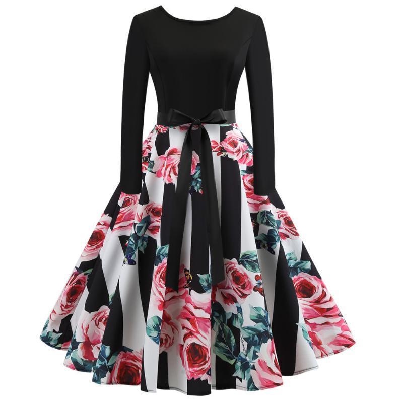 Audrey Hepburn 1960 mujeres se visten de mangas largas florales del vintage oscilación del Rockabilly Cinturones retro del vestido de partido Vestidos Bowknots