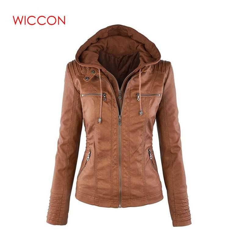2018 Leather Jacket Collar das mulheres de Moda de Nova destacável revestimento encapuçado para a cor múltipla Feminino Collar Mulheres Spring Wear