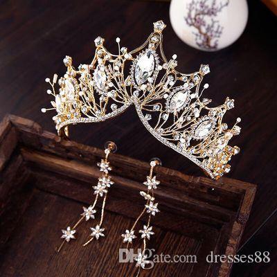 Gold Luxury Bridal Crown Crown of Haute Qualité Sparkle Cristaux perles Royal Mariage 2019 Nouveau Couronnes Crystal Veil Bandeau Coiffeur Accessoires PAR
