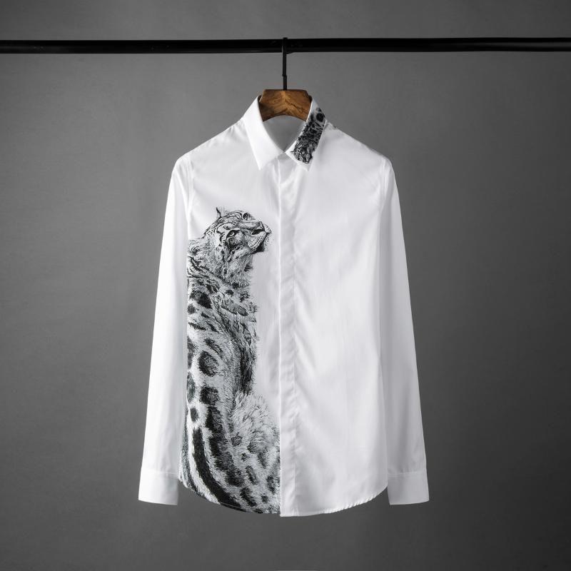 Mode Shirts der Männer Luxus Chetak Printed Shirt Herren Langarm Hight Qualität Shirts beiläufige dünne Sitz Camisa Masculina 4xl