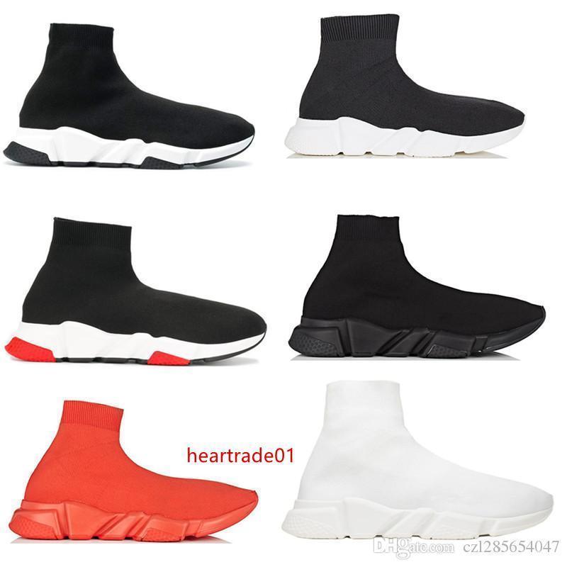 Vitesse 2019 étirement en tricot Sneakers Chaussures de course Noir Hommes Femmes High Top Kanye West Designer Shoes Baskets sport Chaussures Casual avec la boîte