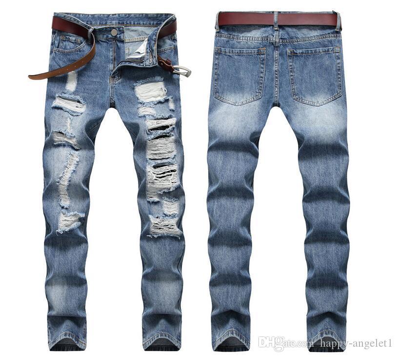 새로운 높은 품질 남성 남성 청바지 캐주얼 슬림 찢어 패션 남성 바지 (28 내지 36)