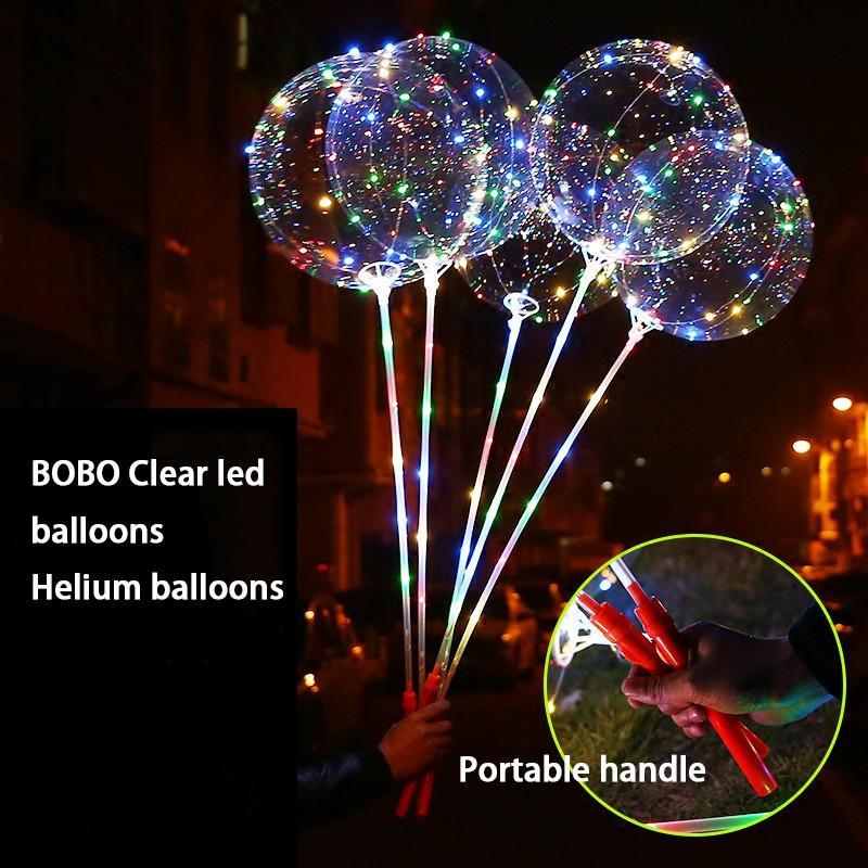 20 pçs / lote 20 polegadas Hélio Luminoso Balão Led Balões Transparentes Luminosos Decoração de Casamento festa de aniversário Com Mão Shank SH190913