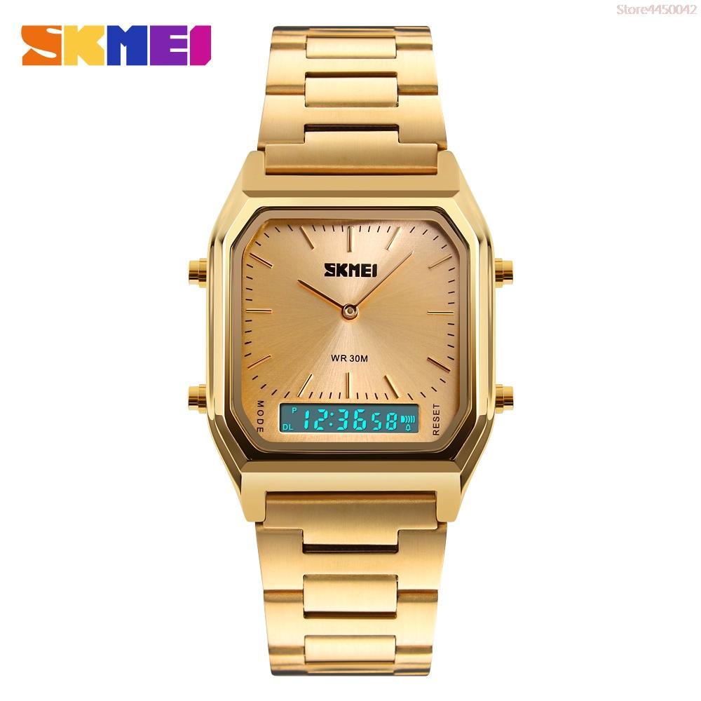 SKMEI Moda 1220 Luxo Casual Quartz Assista aço inoxidável impermeável masculino Analógico Digital Relógios desportivos Homens Relogio