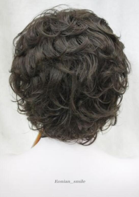 Perruque LL GRATUIT Chaud résistant à la chaleur Parti cheveuxFashion Brun foncé court Femmes Dames Daily Natural Hair