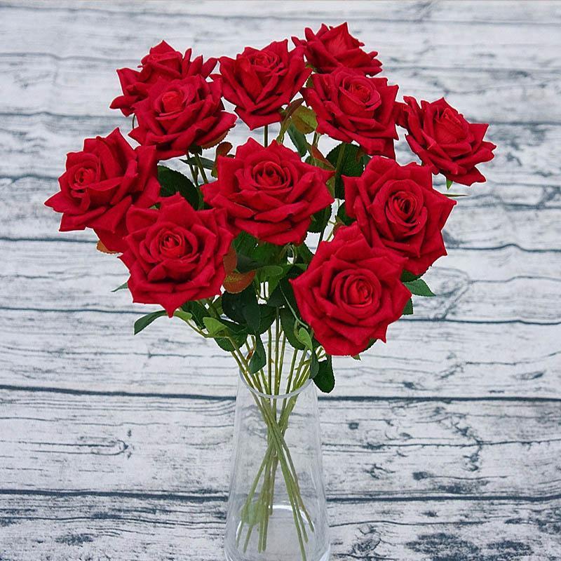 Vazo Sahte Çiçek İpek Güller Buket Sevgililer Günü için 10pcs Yapay Velet Gül Çiçek Ev Düğün Dekorasyon