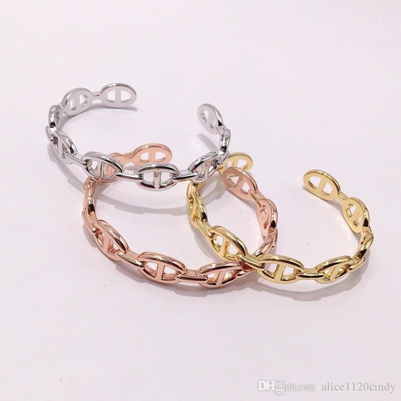Top quality famous Brand Pure 925 Sterling Silver Jewelry open size Hollow pig nose Bracelets For Women Men Retro Cuff Bracelets Bangles