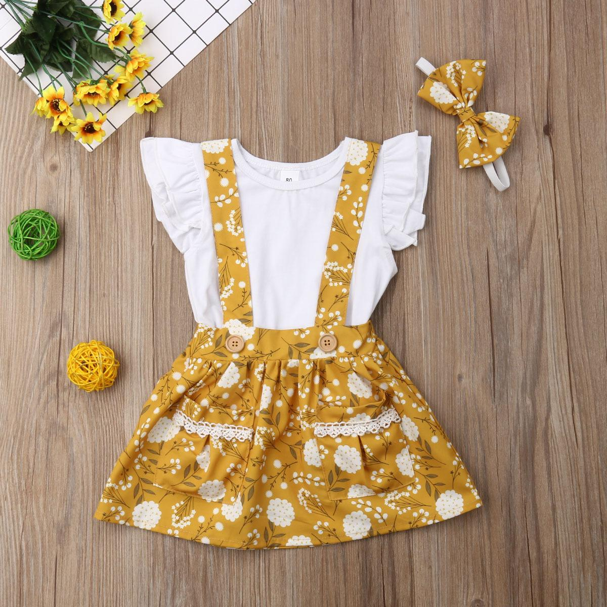 Kids Cute Princess Dress Baby Party 3D Cartoon Girls Toddler Skirt Costume 2pcs