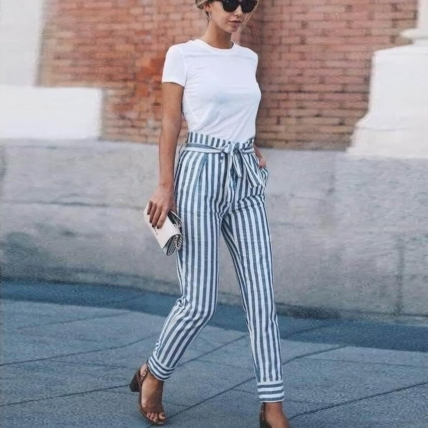 NEW Women Skinny Patchwork Striped Pants Women Pockets OL Style Work Trousers 2018 Spring Mid Waist Pants