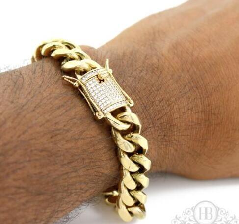 Homens Cuban Miami Link 12mm Bracelete Grosso Aço Inoxidável 14k Banhado A Ouro Diamante Fecho