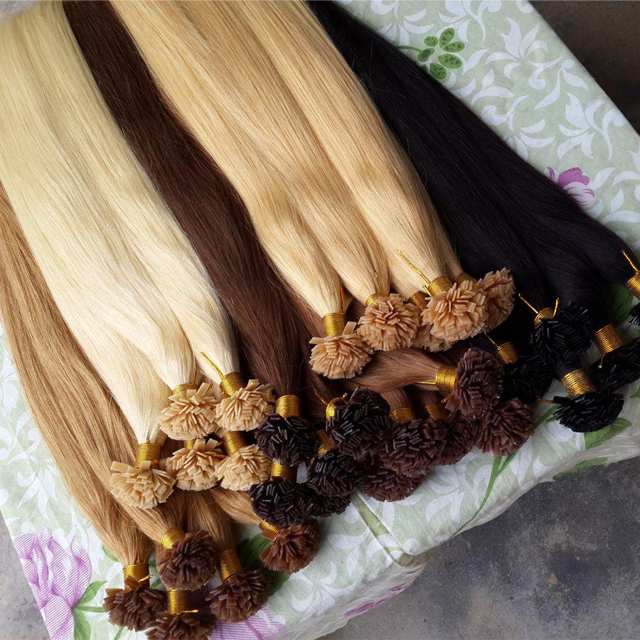 Neues Produkt Remy Pre Bond Haarverlängerung Falt Tip Keratin Fusion Human Hair Verlängerung Gerade 20 Farben erhältlich 100Strands 50g 70g 100g