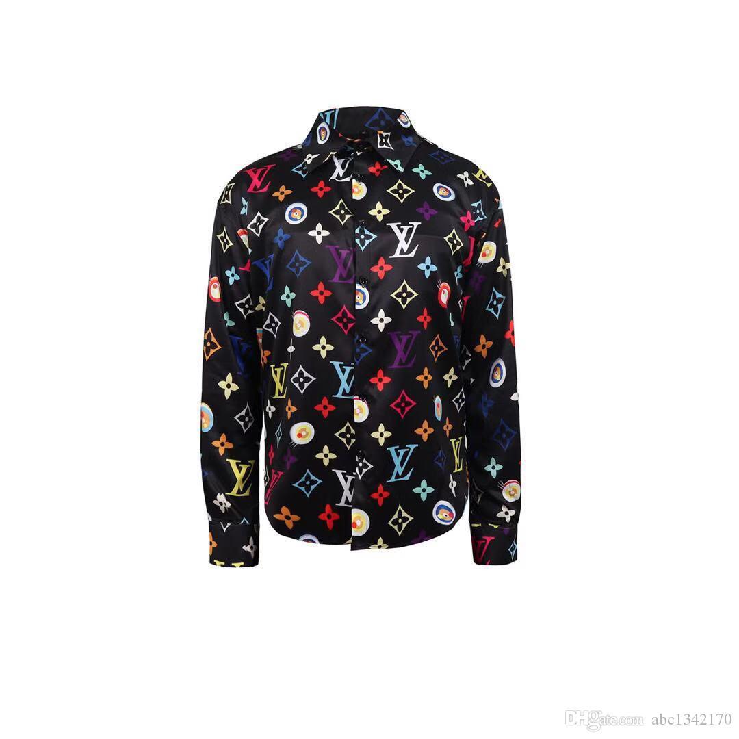 Diseñador Slim Fit Camisas Medusa Men ss = 2019 3D Estampado floral para hombre de oro Camisas de vestir de manga larga Camisas casuales de negocios Hombres Ropa