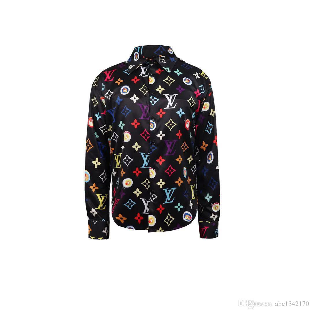 مصمم يتأهل قمصان Medusa Men ss = 2019 3D Gold Floral Print Mens Dress Shirts بأكمام طويلة قمصان رجال الأعمال عارضة الملابس