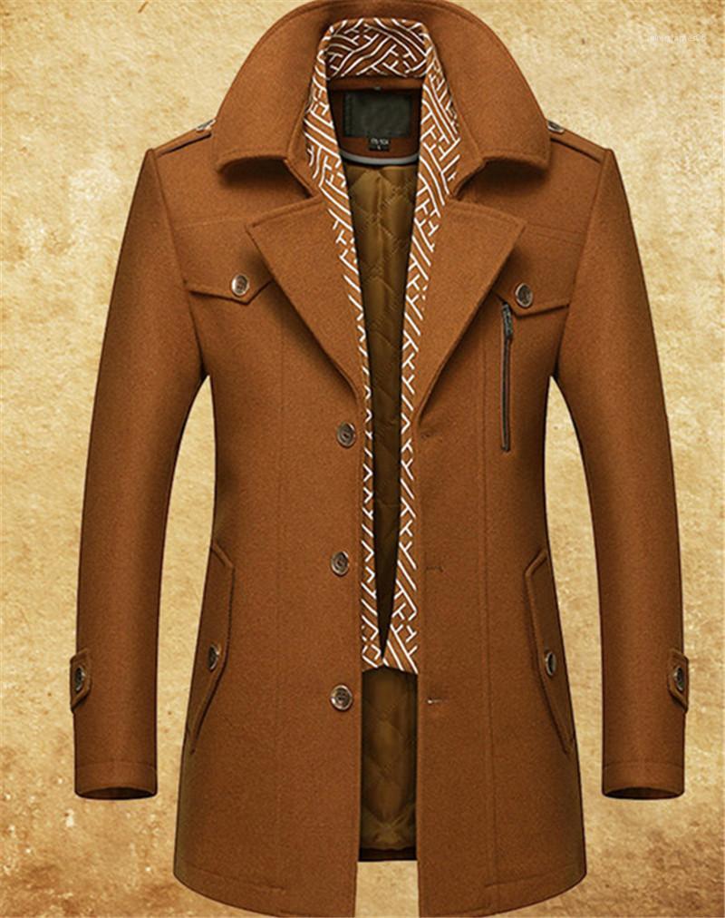con antipiega e cotone sciarpa di lana del cappotto Gentlemen Coats Mens Fashion Designer Giacche cappotto di lana